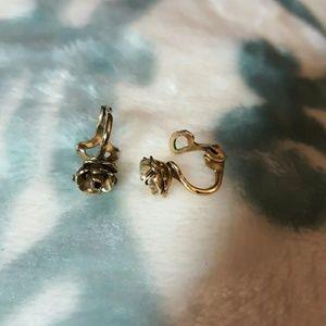 Golden rose clip ons